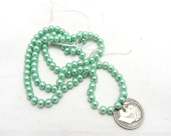"1 Strand (15"") Round Glass Pearl Beads 4mm Mint Green (B73d2)"