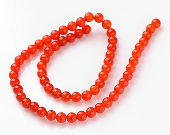 1 Strand Natural Round Carnelian Gemstone Beads 6mm (BR4w)