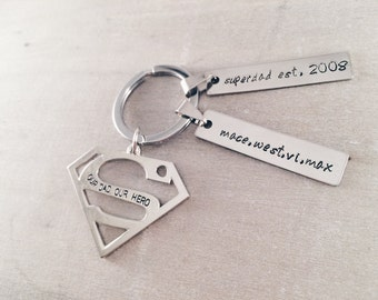 Father's day gifts for dad superman keychain + two tags - Personalized keyring gifts superman our dad our hero - Superdad custom keychain