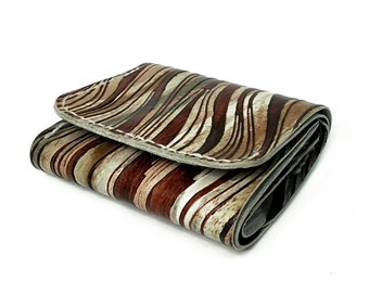 Zebra Pattern Tri-fold Leather Wallet with Coins Bag, Wallet in Handmade, Leather Wallet