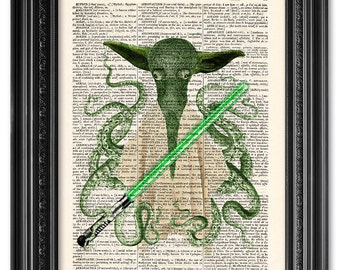Star wars poster, Yoda print, Dictionary art print, Vintage book art, Funny poster, Funny print, Wall art decor, Gift poster [ART 028]