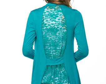 Jade Charcoal Lace-Back Open Cardigan
