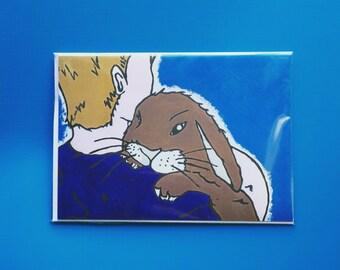 Boy & his Bunny Greeting Card, blank