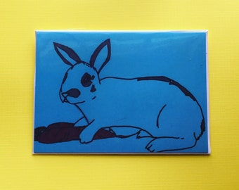 Blue Rabbit Blank Greeting Card: Thank You, thinking of you, ect