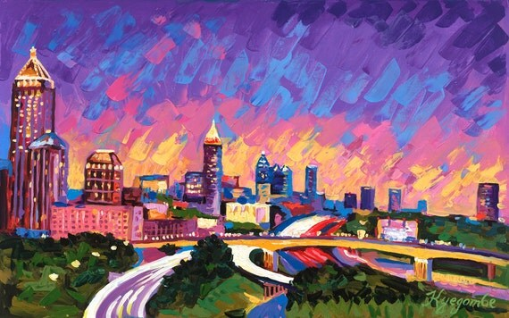 Atlanta georgia skyline cityscape art oil by kyegombefineart for Atlanta oil painting artists