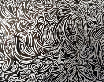 """Framed Abstract Drawing by Benjamin Marcus - """"In Abstentia"""""""