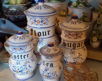 Beautiful Hand Painted Kitchen Canister Set