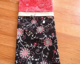 Red and black floral pillow case