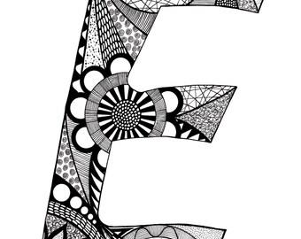 Letter E Monogram Print - Zentangle Inspired