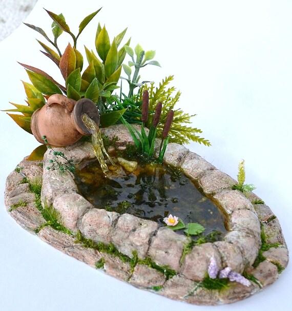 Dollhouse miniature garden pond dollhouse garden pond for Mini koi pond