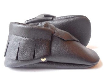 Black Leather Handmade Moccasins Baby Toddler Soft sole shoes