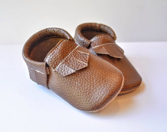 Beautiful Brown Leather Handmade Moccasins Baby Toddler Soft sole shoes