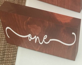 Wooden Table Numbers with White Vinyl Wording
