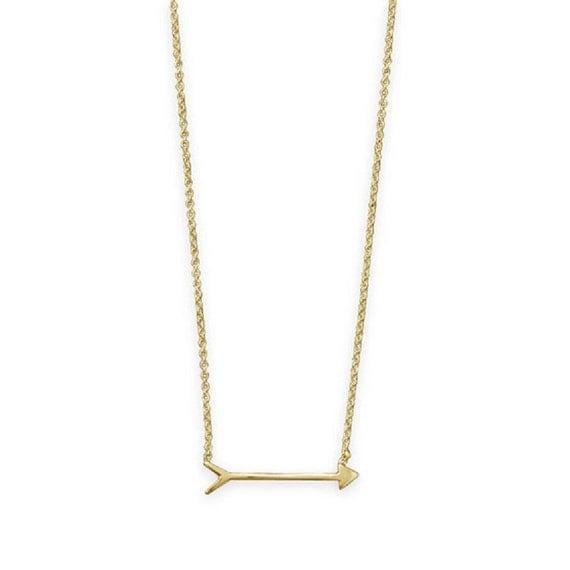 "16"" + 2"" 14 Karat Gold Plated Arrow Design Necklace"