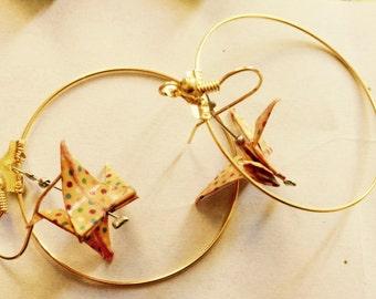 Birds origami creole ear jewelry