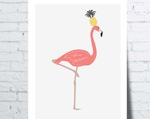 Pineapple poster on the head of a pink Flamingo, tropical wall art, photo, poster, home décor, humorous, design