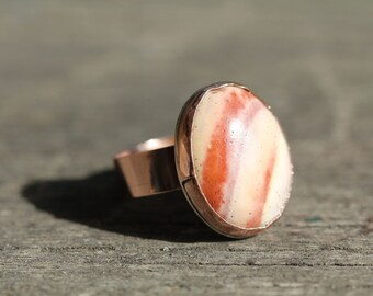 Rustic Copper Statement Ring with a Beautiful natural stone  aus size W for the larger fingers.