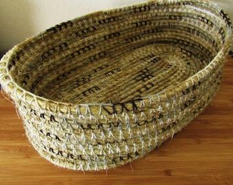 sisal basket, coiled rope basket, sisal rope, rope basket, oval basket, crochet basket, country centerpiece, rustic tray, barn wedding decor