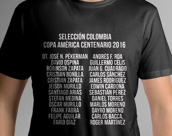 Colombia soccer players shirt Copa America Centenario 2016 jugadores camisa tee