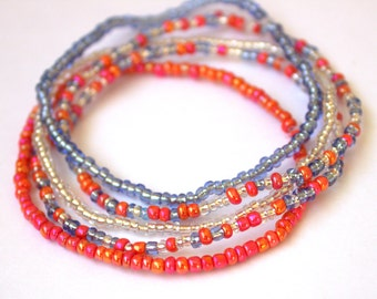 Pink, blue and clear bead stretch bracelet, set of 5, boho