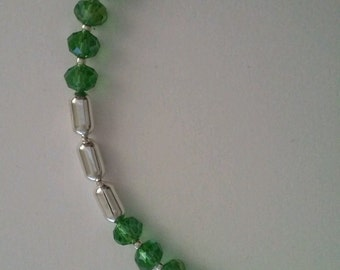 Handmade green lime bead rondelle silver chain bracelet jewellery