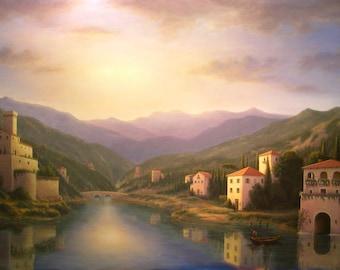 art on canvas, Italian, Lake Como, Italian Landscape, Architecture, Waterscape, Italy, Italian Villa, Mountains, art, large art, landscape