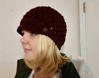 Crochet puff stitch newsboy hat- burgundy