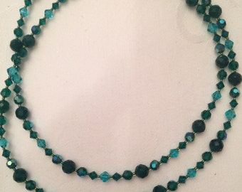 Swarovski crystal long, emerald green necklace (ONE OF A KIND)