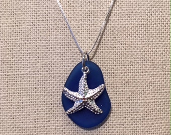 Sterling Silver Starfish & Sea Glass Necklace