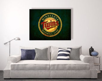 Minnesota Twins vintage style Canvas Print, vintage baseball decor, baseball wall decor, baseball room decor, apartment decorating ideas