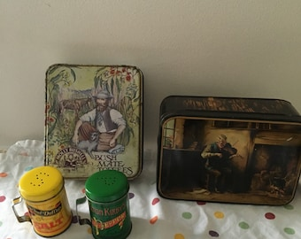 Vintage tins and tin salt and pepper shakers