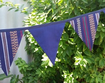 ON SALE! Aztec/Mexican inspired navy blue bunting. Festive, vibrant and bold.