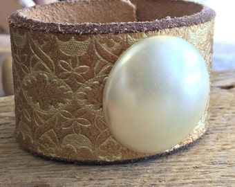 Gold Leather Cuff with Vintage Pearl Colored Button