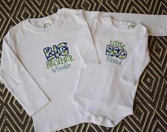Matching sibling applique shirts