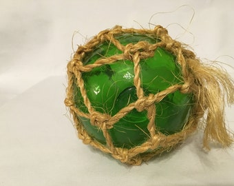 Green glass fishing float