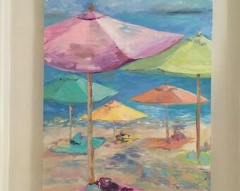 Beach painting original acrylic painting on canvas.