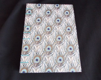 Sketchbook notebook DIN A5 blank pages sketchbook peacock feathers blue Coptic binding cherry blossom coptic binding Peacock