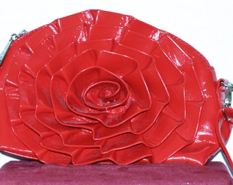 GORGEOUS Red Rose shaped faux leather purse/handbag by Stefan