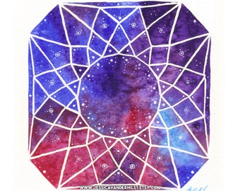 """5""""x7"""" Art print: Square cut diamond on pink, blue and violet watercolour with white sparkling stars 