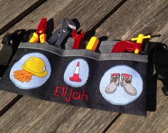 Kids personalised tool belt with tools