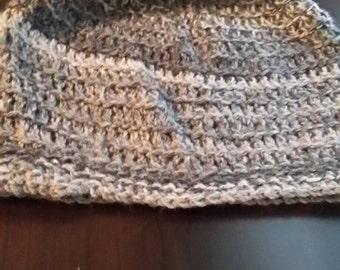 Gray crocheted hat.