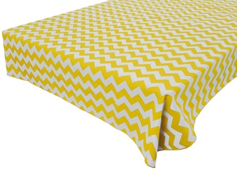 Cotton Table Cloth Chevron Wavy Zig-Zag Yellow