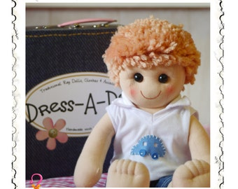 """18"""" BOY DOLL with suitcase, Dress up Doll, Dress Your Own Doll, Doll Body, Traditional Rag Doll, Cloth Doll, Gift for Boys, Handmade Doll,"""