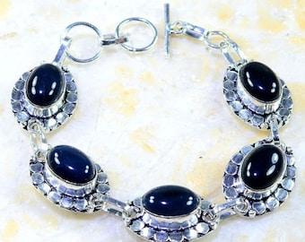 "925 Sterling Silver Black Onyx+Black Agate BRACELET 7 1/2-8"" inches"
