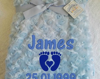 Personalised Blue Rose Fur Infant Baby Blanket/Wrap