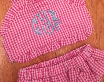 Baby or toddler girl monogrammed bikini