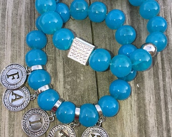Blue glass bead bracelet set