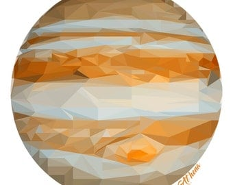 Jupiter Outer Space Geometric Kids Room Personalized Wall Art Decor Print Poster