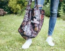 Genuine Leather Bag -Vintage Flower Bag - Leather Shopper Bag - Customized Bag - Shopper Bag - Happiness Bag