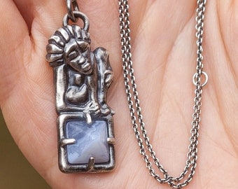 Silver Worry Pendant with stone, pagan jewelry, worry woman, pendant with agate, worry people,  3D printed pendant, sterling silver 925